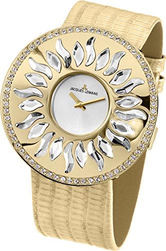 Jacques Lemans 1-1700C - Reloj de Pulsera Mujer, Piel, Color Beige