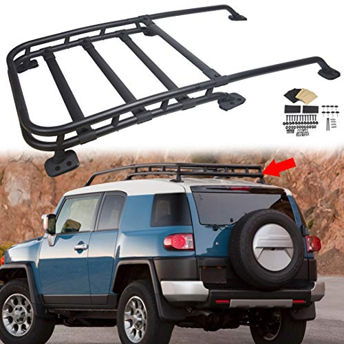 ECOTRIC Roof Rack Rail Top Cargo Luggage Carrier Black-Coated Aluminum Compatible with 2007-2014 Toyota Fj Cruiser | Offroad Type 150Lbs
