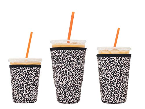 3 Pack Reusable Iced Coffee Sleeves - LOVAC Insulator Sleeve for Cold Beverages, Neoprene Cup Holder for Starbucks Coffee, Dunkin Coffee,More (Leopard print)