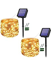 [2 stuks] Usboo® Solar lichtsnoer, 15 m 150 warmwitte leds voor binnen en buiten, met waterdichte koperdraden voor kamerdecoraties, feesten, tuin, balkon, feesten, bruiloften, kinderen