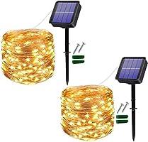 [2 Stücke] Usboo® Solar Lichterkette, 150 warmweiße LEDs 15 Meter für Außen & Innen mit wasserdichten Kupferdrähten für...