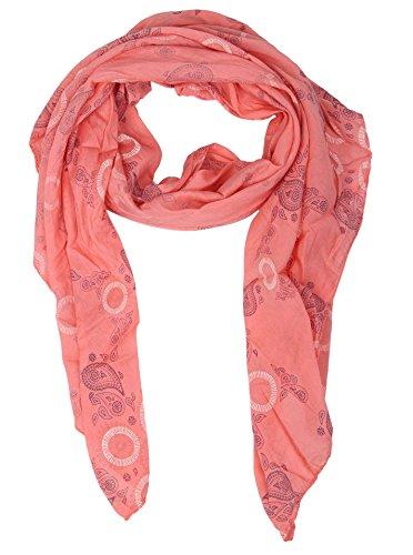 Zwillingsherz Seiden-Tuch für Damen Mädchen Paisley Elegantes Accessoire/Baumwolle/Seiden-Schal/Halstuch/Schulter-Tuch oder Umschlagstuch einsetzbar - koral