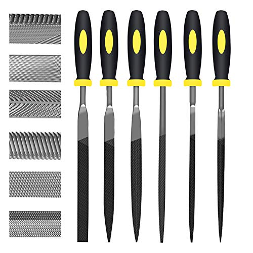 KALIM 6Pcs File Set, 6.3in Needle Files, 4mm Diameter Carbon Steel File Kit with Handle, Suitable for Metal, Wood, Glass, Plastic, Leather, Jewelry