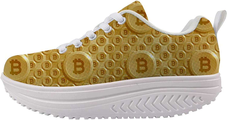 Owaheson Swing Platform Toning Fitness Casual Walking shoes Wedge Sneaker Women gold Bitcoin Wall