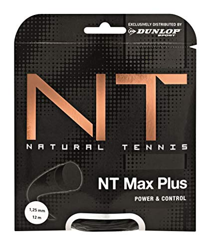 Dunlop Unisex-Adult 624803 Tennis String NT Max Plus 1.25mm 12m Set, Schwarz, One Size