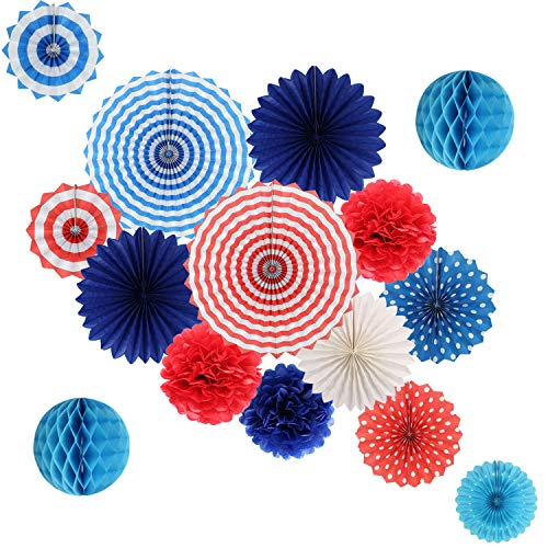 4th of July Patriotic Party Decorations, Independence Day Resurgence Supplies Tissue Paper Fans Paper Pom Poms Flowers and Honeycomb Ball for Nautical Birthday Wedding Blue Red White Kit