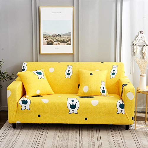 Funda de Sofá Elástica Funda Sofá Gruesa Antideslizante, Cubierta Sofa Muebles con Cuerda de Fijación Antideslizante Protector de Muebles (Oso Hanhan Amarillo, 1 Plazas )