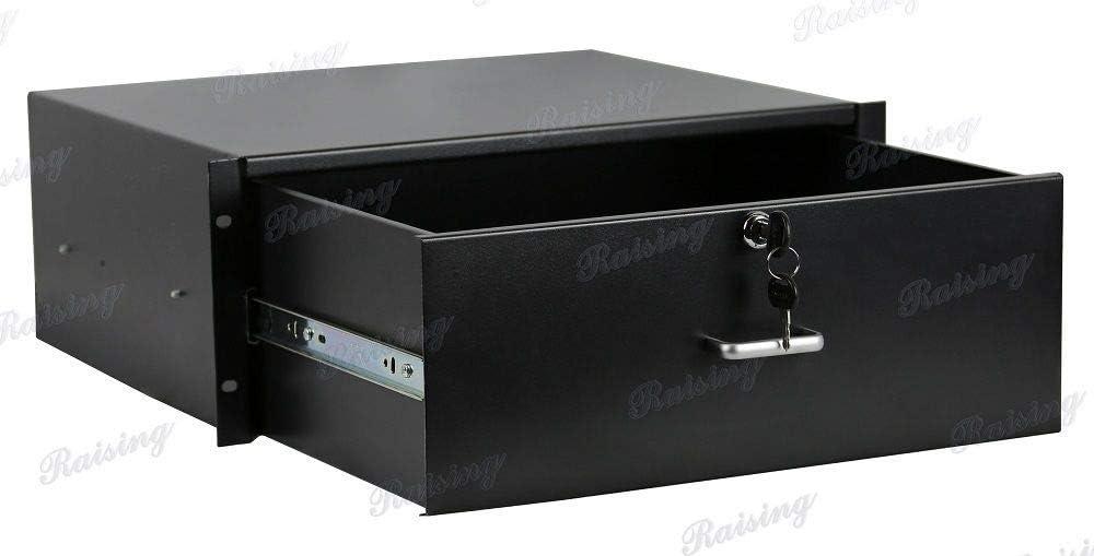 RAISING ELECTRONICS Drawer Server Cabinet Case 19 Inch Locking Rack Mount DJ Lockable Deep Drawer with Key (4U)
