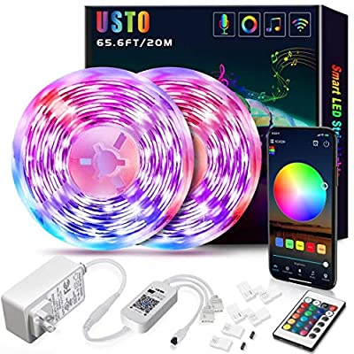 65.6ft Led Strip Lights,USTO Ultra-Long Smart WiFi Led Lights Strip Work with Alexa/Google Home,SMD 5050 RGB Strip Lights Phone App Controlled Music led Lights for Bedroom, Kitchen, TV, Party