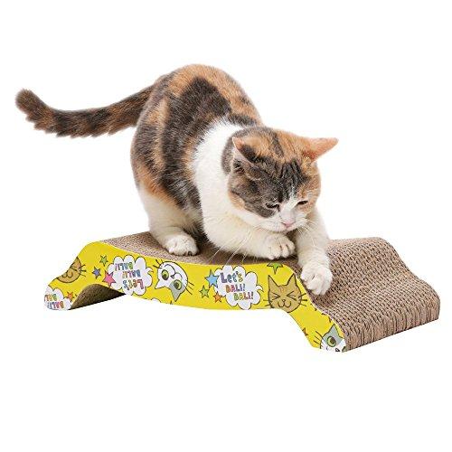 PETTOM 2 Pezzi Gatti Gatti gratta e Vinci con Erba gatta Cartone Ondulato riciclabile Riciclabile Gatto Giocattoli curvi Gatto Gatti Gratta e Vinci Mat (Confezione da 2, Giallo)