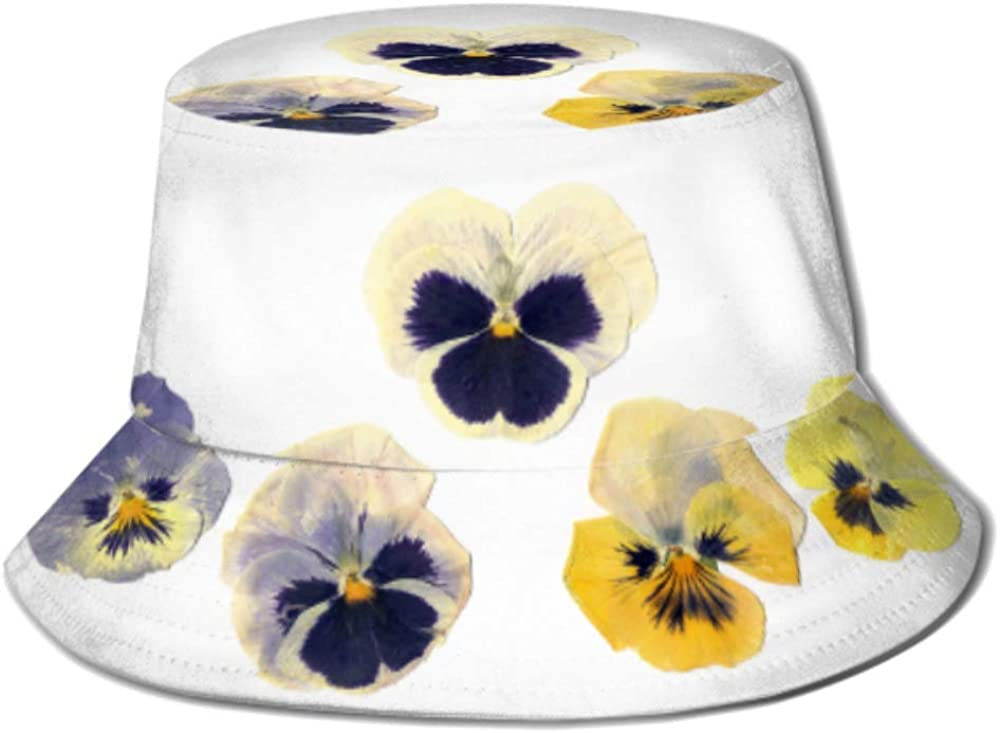 Sun Cap Pressed 2021 spring and summer new Plants Pansies Flowers Bucket White On f Hat Japan's largest assortment