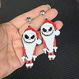 N/A Halloween Calabaza sangrante Calavera Calabaza Pendientes acrílicos Mujer Disfraz de Halloween Cosplay Calavera aterradora Pendientes Colgantes scarysantaclaus
