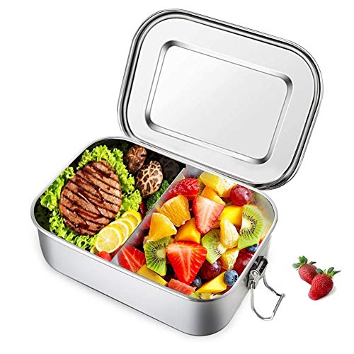 Lacyie Lunch Box, Bento Box in Acciaio Inox Ermetico 800ML Scatola da Pranzo con Parete Rimovibile Portapranzo per Scuola, Ufficio, Campeggio,Schiscet
