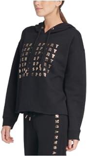 Dkny Sport Metallic-Logo Cropped Hoodie, Black, Small