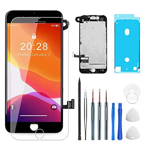 for iPhone 7 Plus 液晶パネル フロントパネル 画面交換用 互換 ブラック LCDディスプレイ 3Dタッチスクリーンデジタイザーキット (フロントカメラ+イヤースピーカー+近接センサー+プロの修理ツールと強化ガラススクリーンプロテクター付き) (黒)