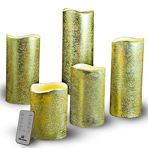 M Mirrowing Flameless Candles, Decorative Rustic Textured Gold Metallic Candle. Set of 5 3'Dx4/5/6/7/8'H,Real Wax,Realistic Flickering,Remote Control Battery Operated LED Candle (Gold Metallic)