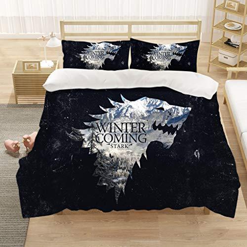 Goplnma-Game of Thrones Bettwäsche-Sets,Wolf Thema Serie Bettbezug,mit Kissenbezug, 3D-Digitaldruck,Mehrfarbig (135×200cm,18)