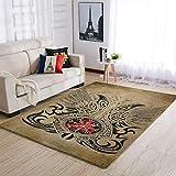 DOGCATPIG Alfombra de porche para puerta Vikings Tatuaje lavable alfombra para entrada blanca 122 x 183 cm