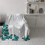 Throw Blanket Butterflies Morphs Pattern Spring Sunny Day Warm Weather Free Enjoyment Air Conditioning Cool Blanket for Teens, Adults Black Turquoise 70 x 90 Inch