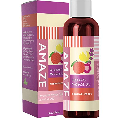 Massage Therapy Oil for Relaxing Detox Spa Massage Joint and Muscle Pain Relief Natural Skin Care with Aphrodisiacs Pure Sweet Almond Oil Lavender and Geranium Essential Oil Antioxidant Moisturizer