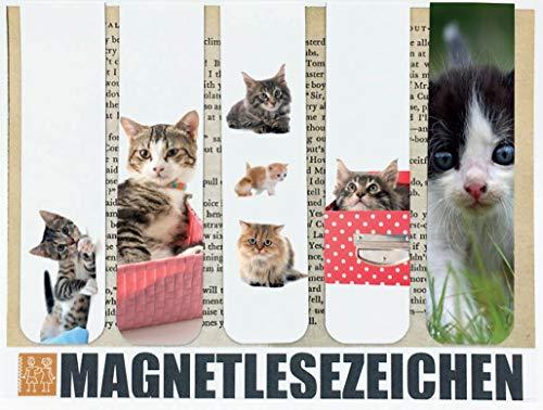 Segnalibro magnetico a forma di gatto, 5 pezzi, 10 x 2,5 cm, per la scuola e per il compleanno dei bambini, motivo: animali, gattini