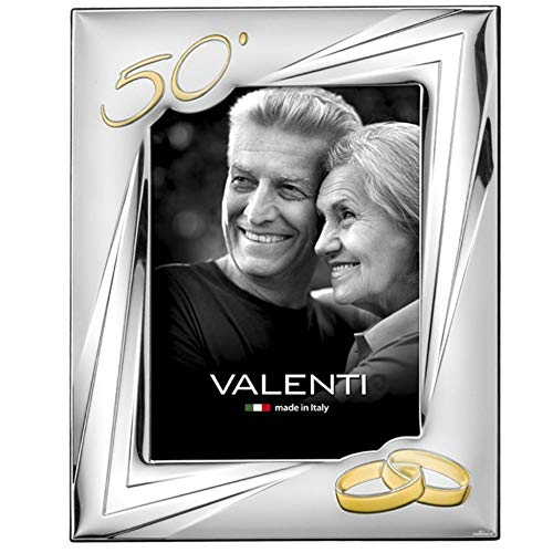Valenti&Co - Cornice Portafoto in Argento cm 18x24. Ideale Come Regalo per Nozze doro - 50 Anni di Matrimonio o per Il Cinquantesimo di parenti, Nonni o Mamma e papà.
