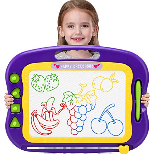 Wellchild Magnetic Drawing Board for Toddlers,Toddler Toys for 3 4 5 6 7 Year Old Girls Boys Gifts Large Etch A Magnet Sketch Colorful Erasable Doodle Pad with Carry Bag