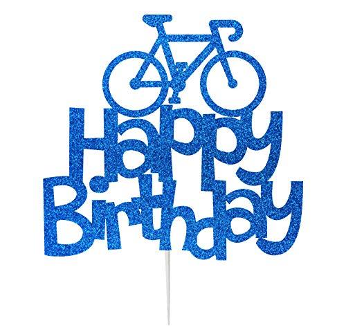 Lissielou Cake Topper motif vélo de paillette pour décoration de gâteaux d'anniversaire.