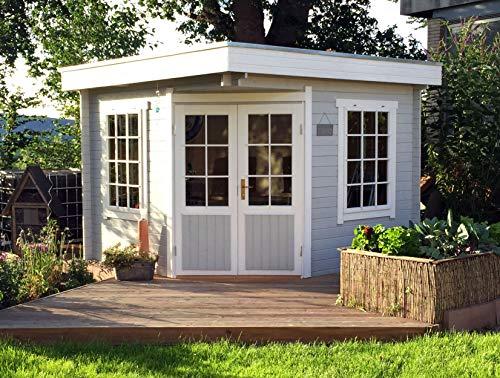 Alpholz 5-Eck Gartenhaus Monica-28 aus Massiv-Holz | Gerätehaus mit 28 mm Wandstärke | Garten Holzhaus inklusive Montagematerial | Geräteschuppen Größe: 300 x 300 cm | Flachdach