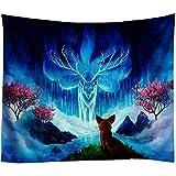 Tapiz Magic Forest Montado en la Pared Arte de Setas Rojas Decoración del hogar Boho 130x150cm