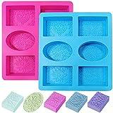 CACASO 2Pcs Silikon Seife Formen, Rechteck & Oval, 6-Kavität Silikonformen für Kuchen, Muffin,...