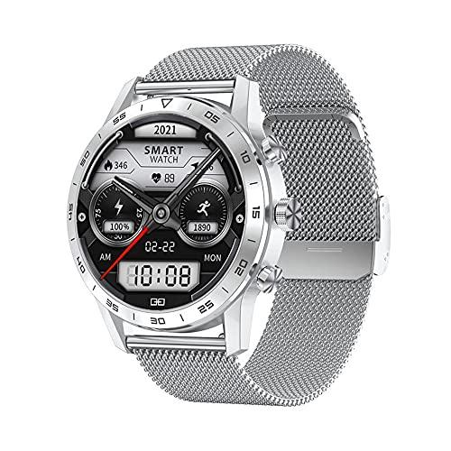 Smart Watch Men Bluetooth Call Rotary Button IP68. Gioca di Musica Impermeabile ECG. Orologio Intelligente (Color : Silver Steel Strap)