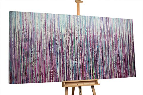 'Curtain Falls' 200x100cm   Abstrakt Lila Blau   Modernes Kunst Ölbild