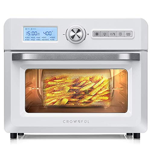 CROWNFUL 19 Quart Air Fryer, 10-in-1 Countertop Toaster Oven, 18L Convection Roaster with Rotisserie & Dehydrator, Original Recipe and 8 Accessories Included, UL Listed (White)