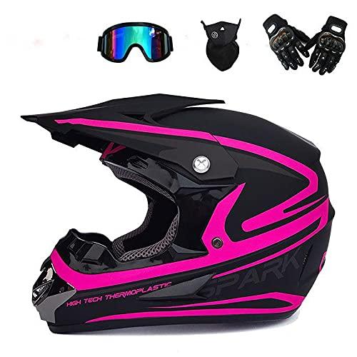 Junqin Casco de Motocicletas de la Cara Completa, Motocross Adult Motoccycle Helmet MX ATV Scooter, con Gafas Gloves Máscara, Certificación ECE (L)-rose11  XL
