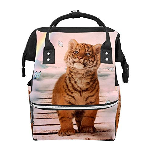 A Tiger On The Rainbow Bridge Mochila escolar de gran capacidad para momia, portátil, mochila de viaje, casual, para mujeres, hombres, adultos, adolescentes y niños