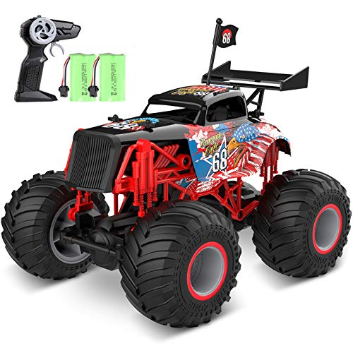 tech rc Monstertruck Ferngesteuertes Auto Off-Road 1:14 Truck 2 Akku 50+ Lange Laufzeit RC Car Buggy Truck Geländewagen 2,4GHz 15KM/H Spielzeug für Jungen und Mädchen Kinder Geschenk - Adler