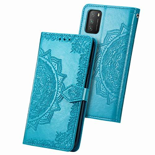 Fertuo Hülle für Poco M3, Handyhülle Leder Flip Hülle Tasche mit Kartenfach, Magnet & Standfunktion [Mandala Muster] Handy Schutzhülle Ledertasche für Xiaomi Poco M3, Blau