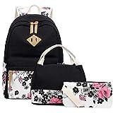 Abshoo Lightweight Canvas Floral Backpacks for Teen Girls School Backpack with Lunch Bag (DG20 Black)