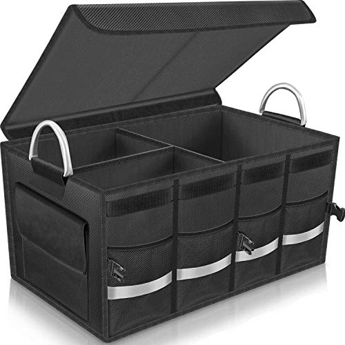 Car Trunk Organizer COCOBELA Trunk Storage, Heavy Duty Collapsible Durable Multi Compartments with Foldable Cover Aluminium Alloy Handle Reflective Strip