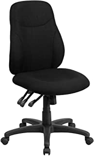 Flash Furniture Mid-Back Black Fabric Multifunction Swivel Ergonomic Task Office Chair
