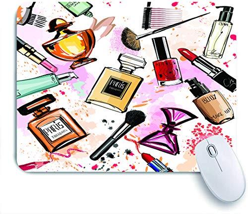 QINCO Gaming Mouse Pad Rutschfeste Gummibasis,Girly Aquarell Kosmetik Parfums Lippenstift Nagellack...