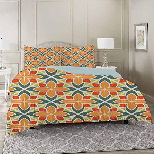 YUAZHOQI Floral Bedding Duvet Cover Sets Queen, Ornamental Squared Background with Symmetrical Petal Design Abstract Botany Super Soft Microfiber 3 Piece Duvet Cover Set Includes 2 Pillow Shams