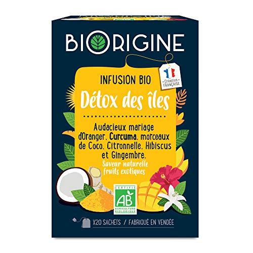 BiOrigine – Infusion bio Détox des Iles – Oranger Curcuma Coco Citronnelle Hibiscus Gingembre – saveur naturelle fruits exotiques - Produit naturel et fabriqué en France – 20 sachets
