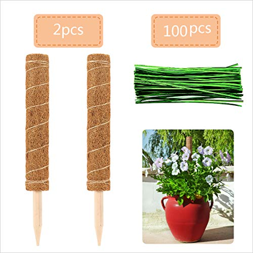 Alphatool 2 Pcs 16.5 Inches Coir Totem Pole- Coir Moss Totem Pole Coir Moss Stick for Creepers Plant Support Extension, Climbing Indoor Plants (16.5'' Long)