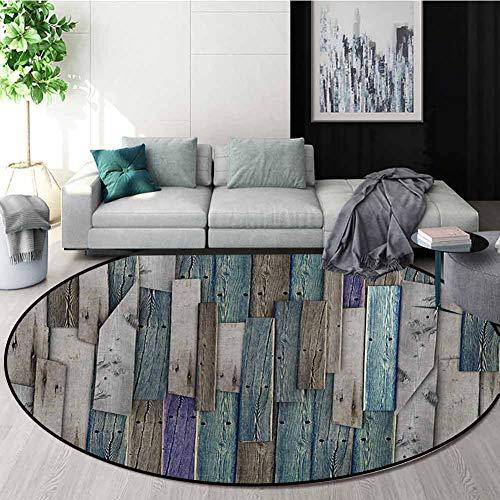 Find Discount Wooden Modern Machine Washable Round Bath Mat,Blue Grey Grunge Rustic Planks Barn Hous...
