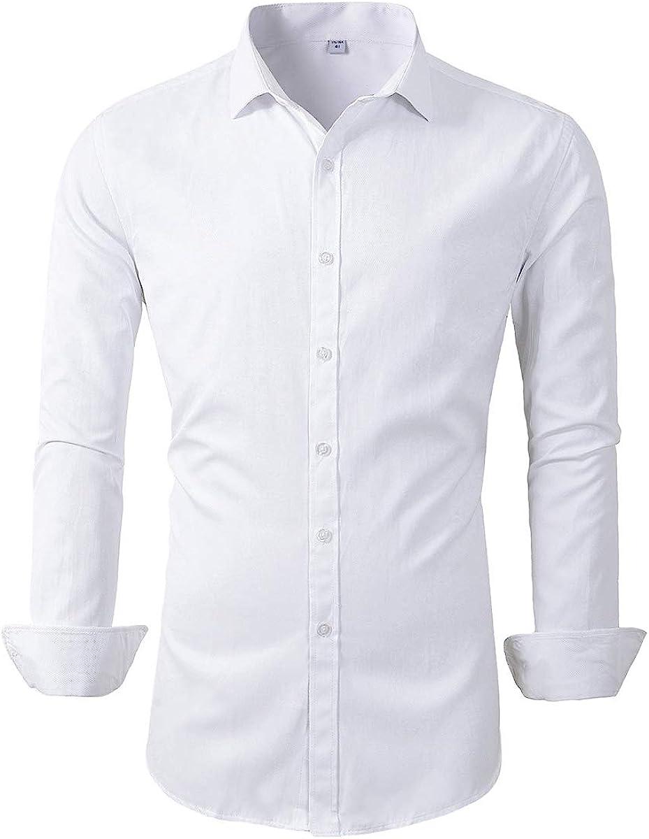 Beninos Mens Long Sleeve Slim Fit Dress Shirts