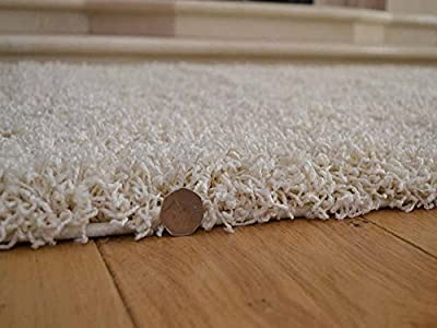 Soft Touch Shaggy Ivory Cream Thick Luxurious Soft 5cm Dense Pile Rug. Available in 4 Sizes