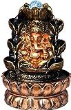 The Indie Quirk - Fuente de agua con Lord Ganesha, luces LED multicolores, bomba de motor con interruptor de control de flujo de agua y bola de cristal, 30 x 20 x 20 cm