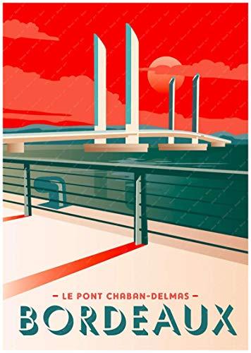 Burdeos, Francia, país del vino, mapa turístico, póster, revestimiento artístico, póster, lienzo, pintura al óleo, decoración, lienzo 40X60cm azul